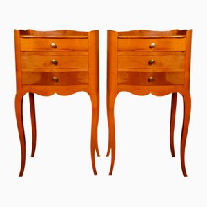 French Cherry Wood Bedside Cupboards, 1920s