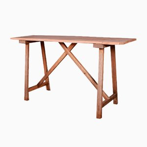 French Oak and Poplar Trestle Table, 1880s