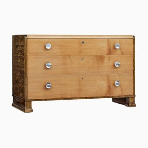 Mid 20th Century Elm and Birch Scandinavian Chest of Drawers