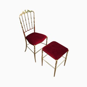 Chiavari Brass Chair and Stool, France, 1970s, Set of 2