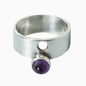 Silver and Amethyst Ring by Isaac Cohen