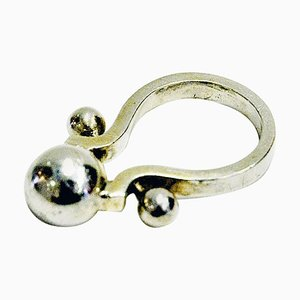 Vintage Silver Ring with Top Ball, 1950s