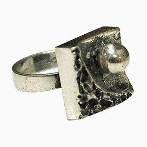 Brutalistischer quadratischer silberner Vintage Ring, 1970er