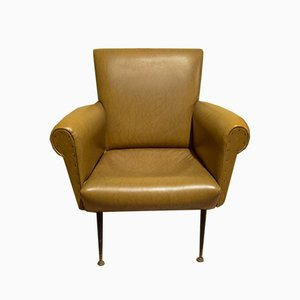 Leather Chair in Yellow Ocher, Italy, 1970s