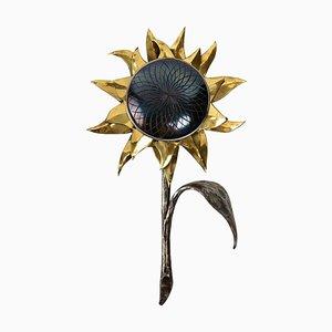 Sonnenblumen Wandlampe aus Schmiedeeisen, 1970er