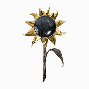 Wrought Iron Sunflower Wall Lamp, 1970s