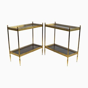 Bronze and Leather Tables, 1960s, Set of 2