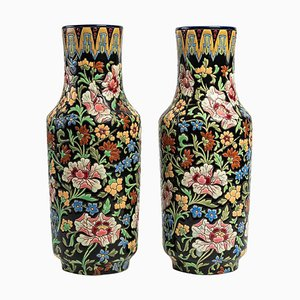 Longwy Ceramic Vases, Set of 2