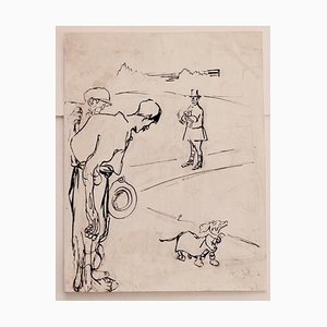 Gabriele Galantara - Satiric Scene for L'asino - Pen and Pencil Drawing - 1910s