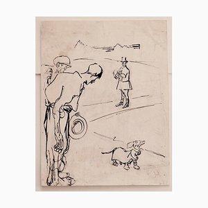 Scène Satirique pour L'asino Gabriele Galantara - Dessin au Crayon et au Stylo - 1910s