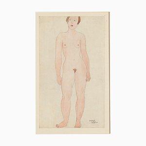 Germaine Labaye - Nude - Lápiz original y acuarela - Finales del siglo XX