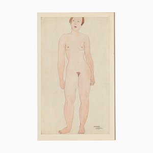 Germaine Labaye - Nude - Original Pencil and Watercolor - Late 20th Century