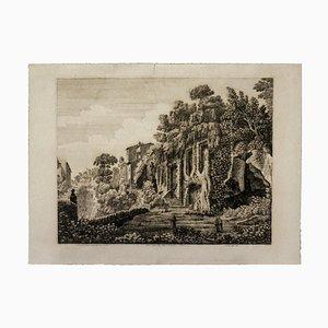Luigi Rossini - Domitian Villa - Original Radierung - 1826