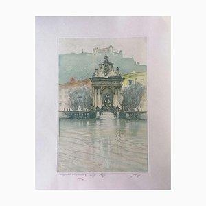 Augusto Wolf - Springbrunnen mit Schloss - Original Radierung Hand Aquarell - 1890er