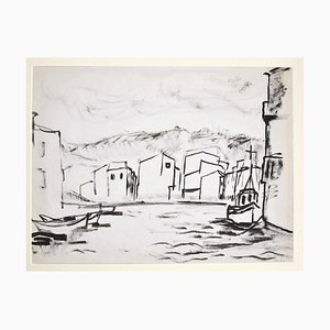 Herta Hausmann - the Port - Original Tinte & Aquarell aus China - Mitte des 20. Jahrhunderts