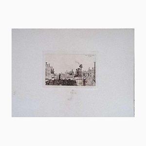 Luca Beltrami - Paris: from My Window - Original Etching on Cardboard by L. Beltrami - 1876