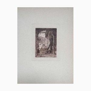 Luca Beltrami - Lombard Farmhouse - Original Etching on Cardboard - 1877