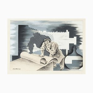 Jean Marchal - the Typographer - Original Mixed Media - Mid-20th Century