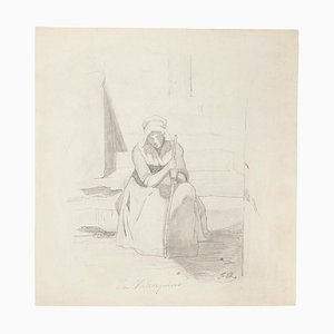 Unknown - Tired Woman - Original Pencil Drawing - Early 20th Century