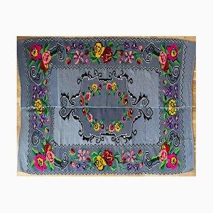 Vintage Handmade Grey Wool Carpet with Floral Bohemian Design