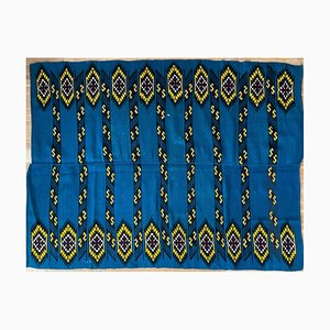 Romanian Handwoven Carpet with Blue Ground and Yellow Details