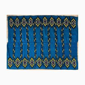 Rumänischer Handgewebter Teppich mit Blauem Grund und Gelben Details