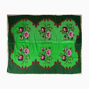 Vintage Romanian Hand Woven Floral Carpet