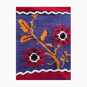Large Romanian Handwoven Floral Rug