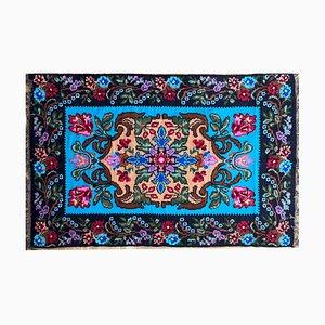 Vintage Blue Moldavian Rug with Beautiful Flowers