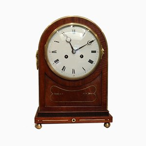 Mahogany and Brass Inlaid Mantel Clock