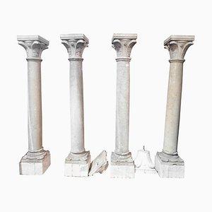 Antique Botticino Stone Columns, Bases & Sculpted Capitals, Italy, 1700, Set of 4