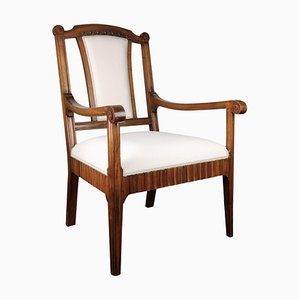 Italian Carved Walnut Wood Armchair, 1930s