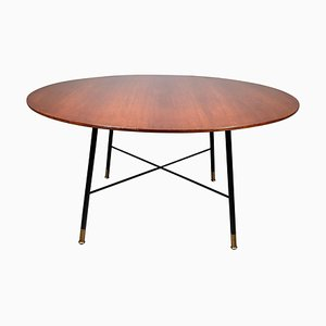 Round Low Table with Mahogany Top and Brass Feet from Cassina, 1955