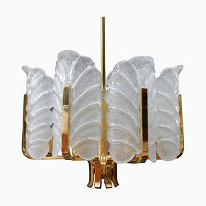 Glass Leave Brass Chandelier by Carl Fagerlund for Orrefors