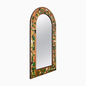 Italienischer Spiegel mit kupferfarbenem Repoussé Rahmen