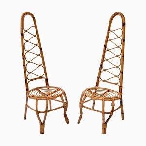 Stühle aus Rattan & Bambus, 1960er, 2er Set
