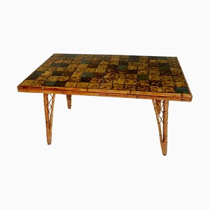 French Bamboo Dining Table with Ceramic Tile Top, 1950s