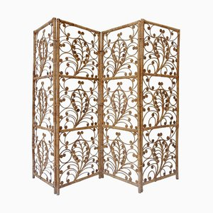 Four-Panel Rattan Screen Room Divider, 1940s