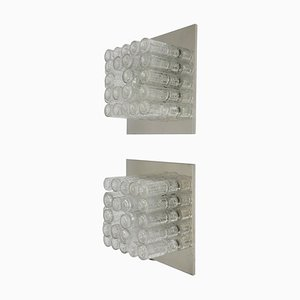 Große quadratische deutsche Wandlampen aus Glas & Chrom, 1970er, 2er Set