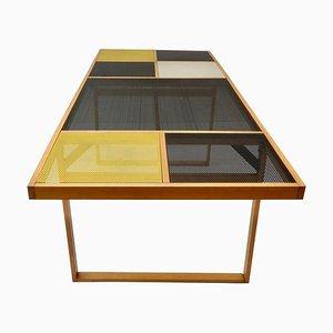 Tavolo nero in metallo perforato, anni '60