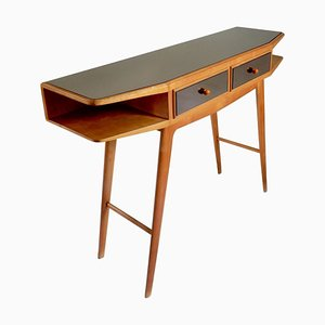 Mid-Century Wood Console with Smoked Mirrored Top and Drawers