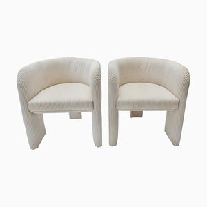Italian Off-White Velvet Corduroy Armchairs, 1970s, Set of 2