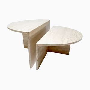 Modular Travertine Coffee Tables, 1970s, Set of 2