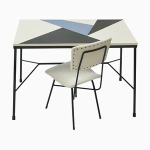 Mid-Century Desk with Multicolored Top & Black Metal Legs with White Velvet Chair