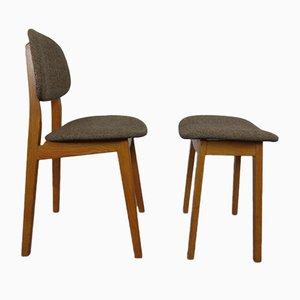 Beech Chair & Stool, 1960s, Set of 2