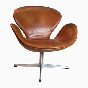 Vintage Cognac Leather Lounge Chair by Arne Jacobsen for Fritz Hansen, 1960s