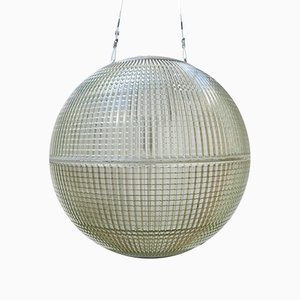 Industrial French Glass Hanging Lamp from Holophane, 1950s