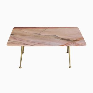 Mid-Century Italian Coffee Table with Pink Marble Top & Brass Tips, 1950s