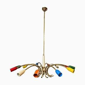 Mid-Century Italian Modern Brass & Metal Sputnik Chandelier from Stilnovo, 1960s