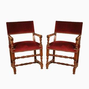 Antike französische Nussholz & Samt Armlehnstühle, 1800er, 2er Set